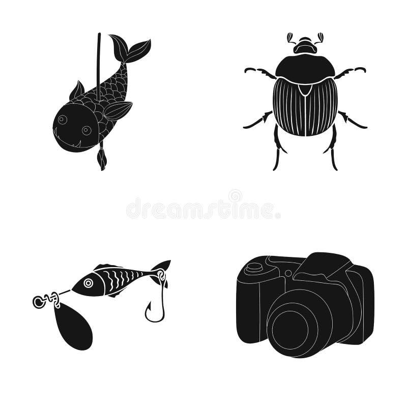 Fotografia, video, ecologia e l'altra icona di web nello stile nero attrezzatura, accessori, icone della macchina fotografica nel illustrazione di stock
