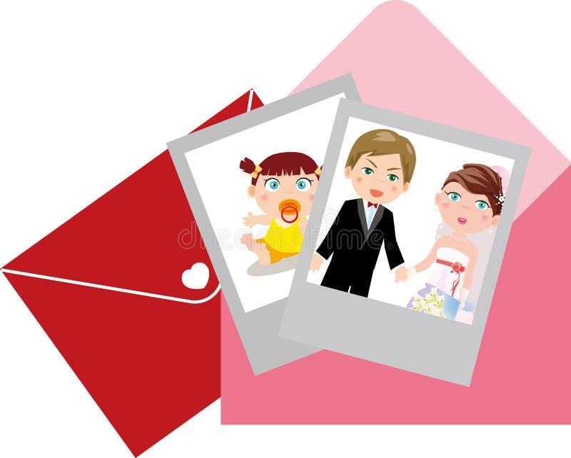 Fotografias e envelopes ilustração do vetor