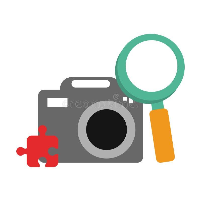Fotograficzna kamera z amgnifying szkła i łamigłówki symbolami ilustracji