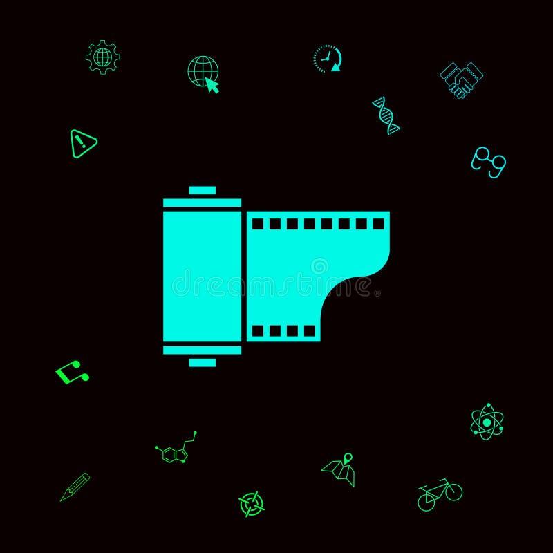 Fotograficznego filmu kasety ikona Graficzni elementy dla twój designt ilustracja wektor