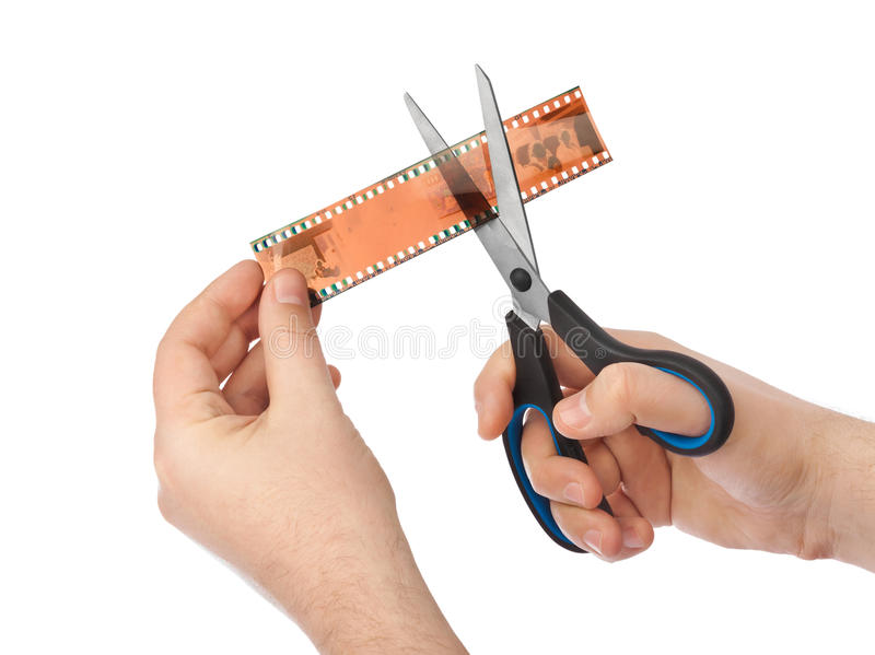 Fotograficzny film i nożyce fotografia stock