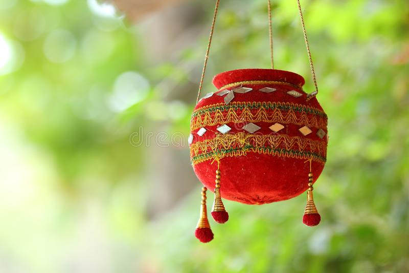 Fotografie des Dahis HANDI auf gokulashtami Festival in Indien, das Lord Shri Krishna-` s Geburtstag ist lizenzfreies stockbild