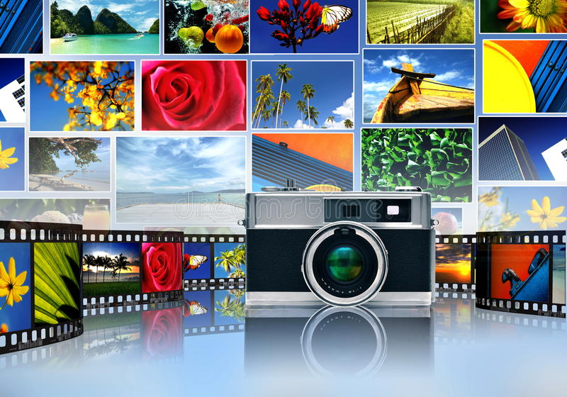 Fotografie en beeld het delen vector illustratie