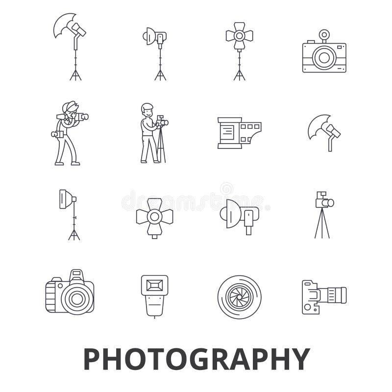 Fotografie, fotograaf, camera, fotostudio, kader, cameralens, de pictogrammen van de polaroidlijn Editableslagen Vlak Ontwerp royalty-vrije illustratie
