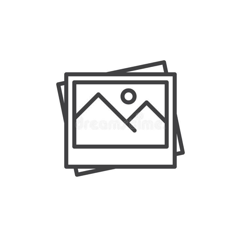Fotografie wykładają ikonę, konturu wektoru znak, liniowy stylowy piktogram odizolowywający na bielu royalty ilustracja