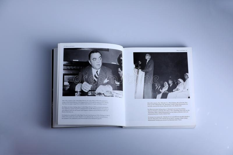 Fotografieboek door Nick Yapp, John Edgar en Malcolm X stock foto's