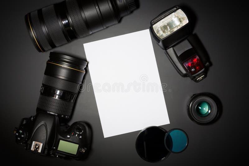 Fotografieconcept met camera lense en copyspace stock foto