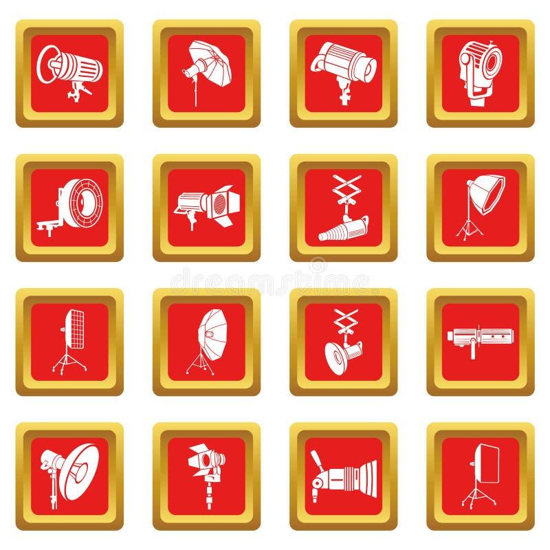 Download Fotografiepictogrammen Geplaatst Rode Vierkante Vector Vector Illustratie - Illustratie bestaande uit overzicht, beeldspraak: 114225827