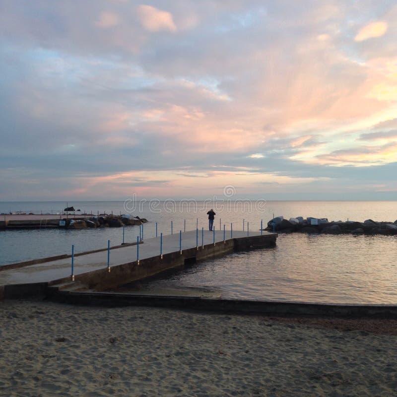 Fotografieren des Sonnenuntergangs stockfotografie
