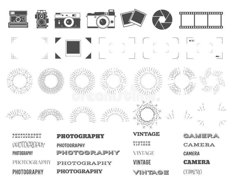 Fotografieweinlese und Retro- Symbole, Bänder stock abbildung