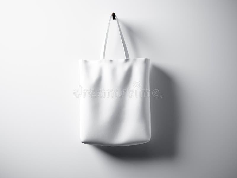 Fotografii bawełnianej tkaniny torby obwieszenia biały centrum Pusty abstrakt ściany tło Wysoce szczegółowa tekstura, przestrzeń  ilustracja wektor