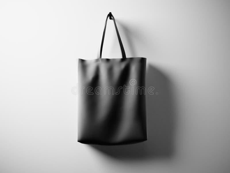 Fotografii czerń gumował materialnego torby obwieszenie w centrum Pusty biel ściany tło Wysoce szczegółowa tekstura, przestrzeń d royalty ilustracja