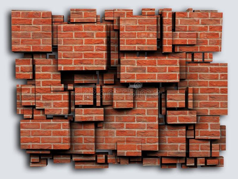 Fotografii 3D sześcianów skutka cegły świadczenia 3 d ilustracji