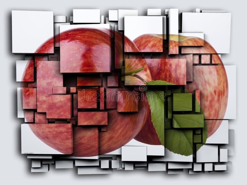 Fotografii 3D sześcianów skutka zieleń Apple świadczenia 3 d ilustracja wektor