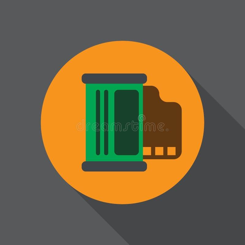 Fotografii ekranowej rolki mieszkania ikona Round kolorowy guzik, kółkowy wektoru znak, logo ilustracja ilustracja wektor