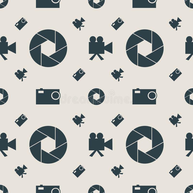 Fotografii i kamera wideo płaskich ikon bezszwowy wzór ilustracji