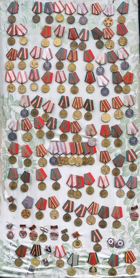 Fotografii ikony jubileuszowi medale i nagrody sowieci - zjednoczenie i Rosja który nagradzali pracowników i wojskowego obrazy stock