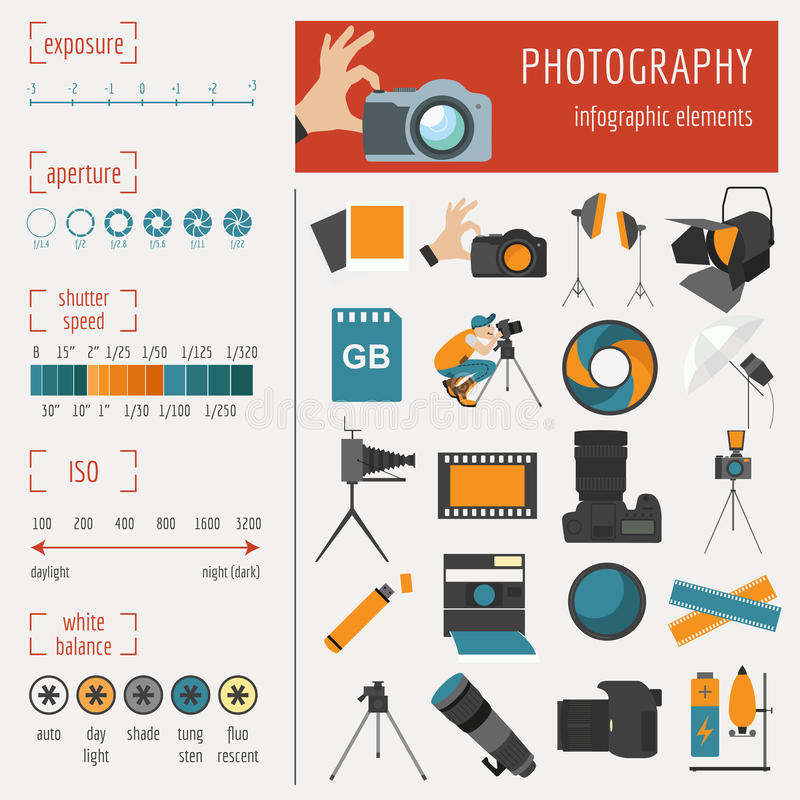 Fotografii infographics ustawiający z fotografią, kamery wyposażenie royalty ilustracja