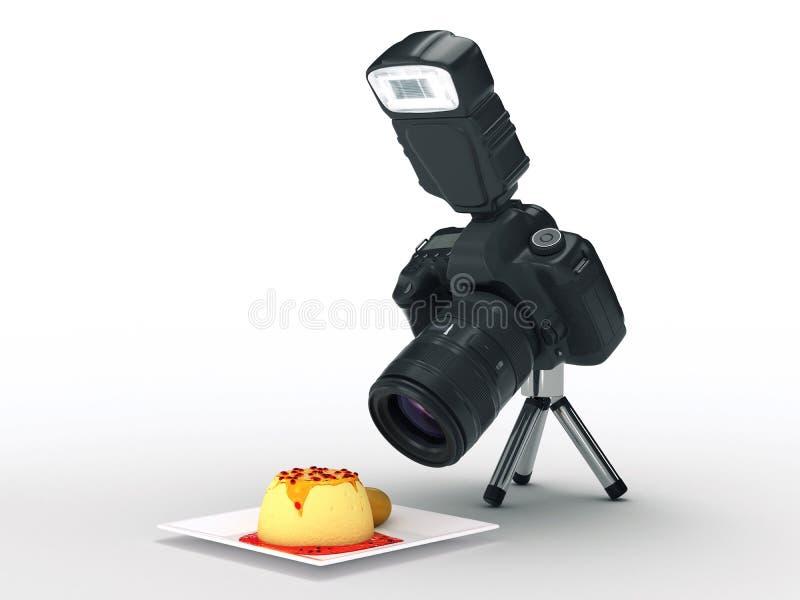 Fotografii jedzenie i kamera ilustracji
