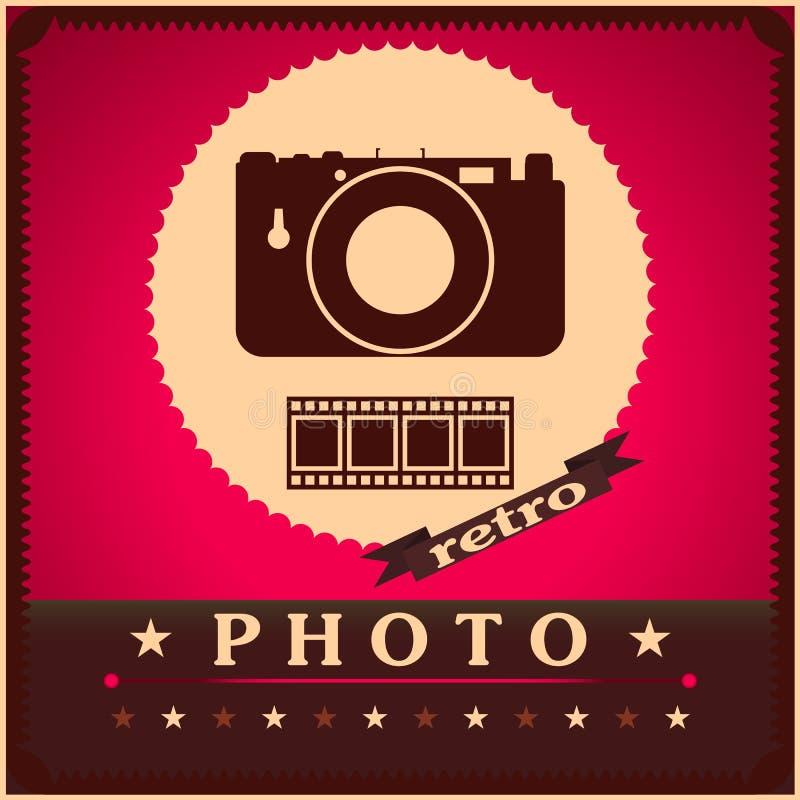 Fotografii kamera i ekranowy retro plakat royalty ilustracja