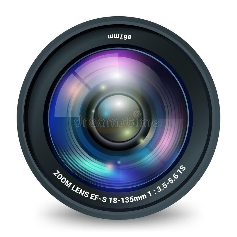 Fotografii kamera wideo obiektywu odosobniony frontowy widok ilustracja wektor