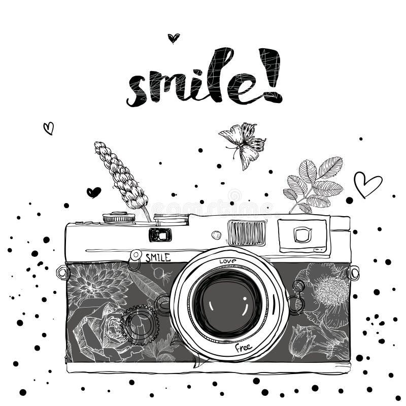 Fotografii kamera z kwiatami i ptakami ilustracji