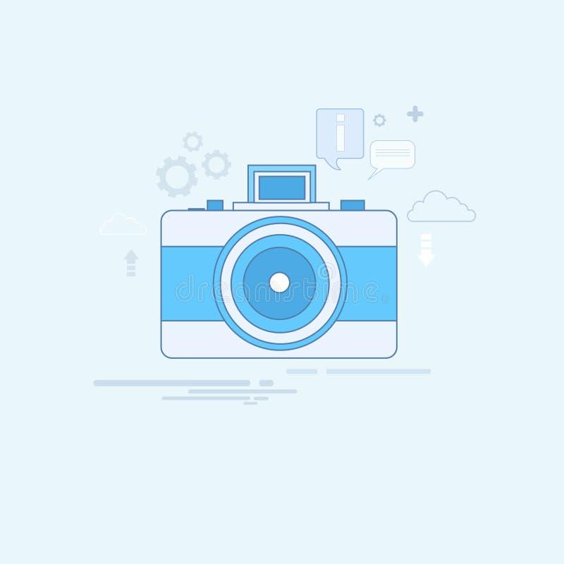Fotografii kamery ikony Cienka linia ilustracji