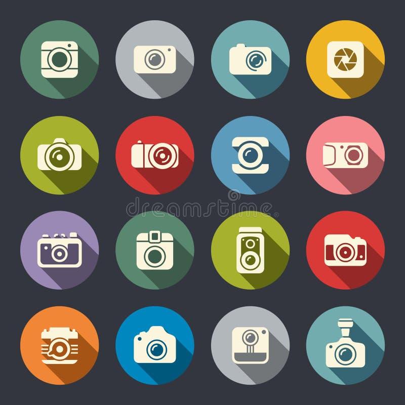 Fotografii kamery ikony set ilustracja wektor