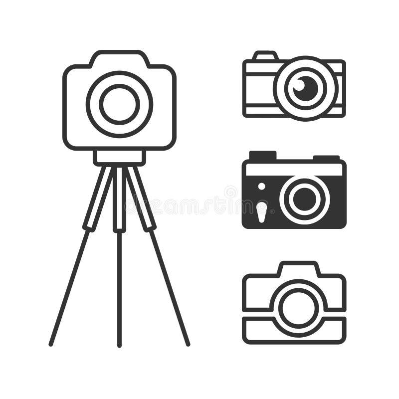 Fotografii kamery ikony ustawiać ilustracji