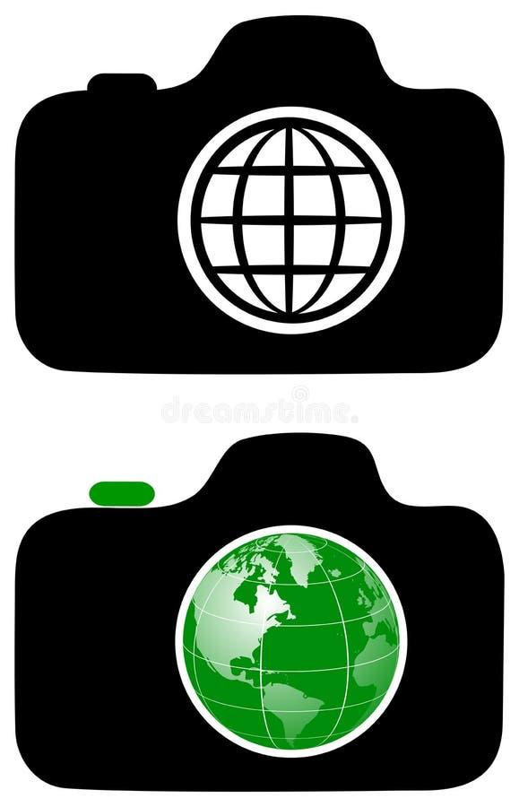 Fotografii kamery kuli ziemskiej logo royalty ilustracja