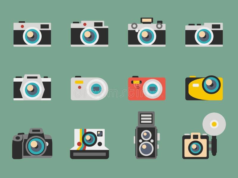 Fotografii kamery płaskie wektorowe ikony royalty ilustracja