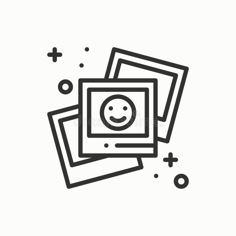 Fotografii linii konturu ikona Fotografia, obrazek, fotografia, zdjęcie znak Wektorowy prosty liniowy projekt ilustracja ilustracji