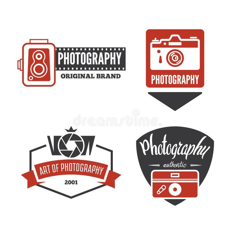 Fotografii logowie, odznaki i etykietki, Projektują elementy ustawiających Fotografii kamery rocznika stylu przedmioty royalty ilustracja