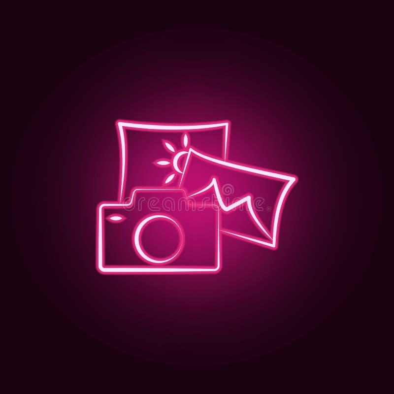 fotografii neonowa ikona Elementy podróż set Prosta ikona dla stron internetowych, sieć projekt, mobilny app, ewidencyjne grafika royalty ilustracja
