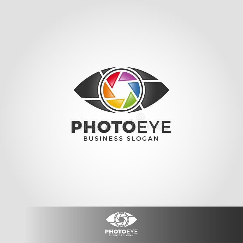 Fotografii oko - kamery studia logo ilustracja wektor