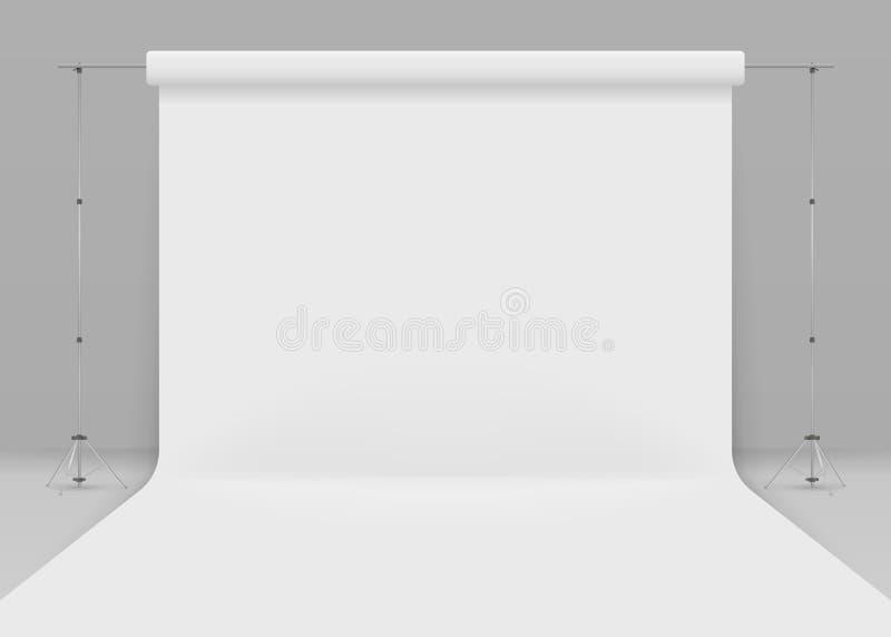 fotografii pusty studio Realistyczny 3D szablonu egzamin próbny up na popielatym tle 3d pracowniany ustawianie z białym tłem ilustracji