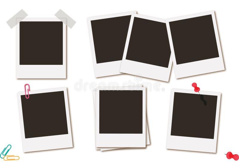 Fotografii ram obrazka retro natychmiastowy czerń grępluje wektorową ilustrację ilustracja wektor