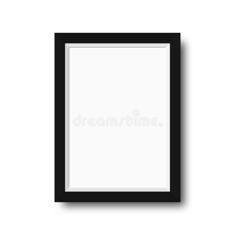 Fotografii rama z czarnymi granicami Drewniana fotografii rama z pustą przestrzenią dla motywacyjnego teksta, wycena, obrazków i  royalty ilustracja