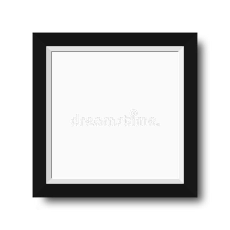 Fotografii rama z czarnymi granicami Drewniana fotografii rama z pustą przestrzenią dla motywacyjnego teksta, wycena, obrazków i  ilustracja wektor