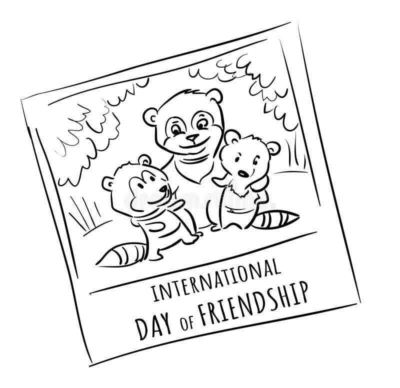 Fotografii zwierząt przyjaciele - międzynarodowy dzień przyjaźń royalty ilustracja