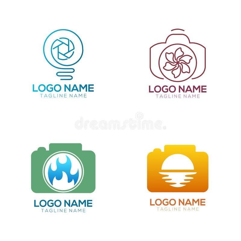 Fotografilogo och symbolsdesign stock illustrationer