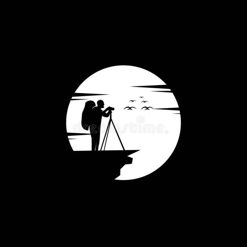 Fotografilogodesign, vektor, illustration royaltyfri illustrationer