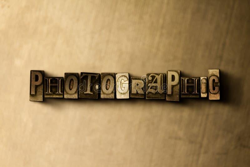FOTOGRAFISCH - close-up van grungy wijnoogst gezet woord op metaalachtergrond stock illustratie