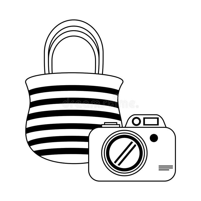 Fotografisch die camera en zakbeeldverhaal in zwart-wit wordt geïsoleerd vector illustratie