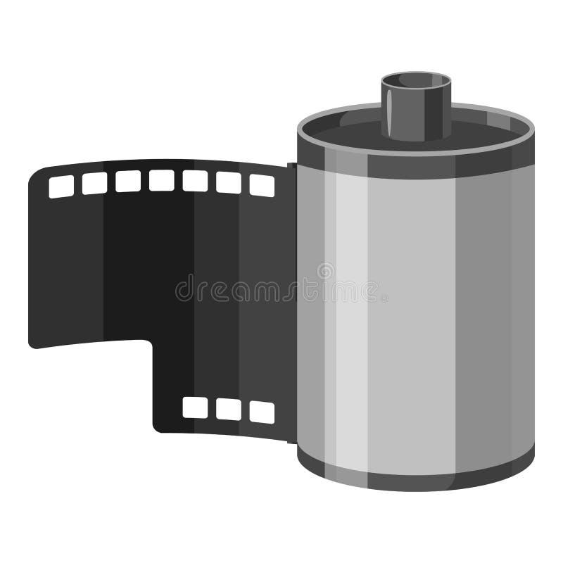 Fotografisch filmpictogram, grijze zwart-wit stijl stock illustratie
