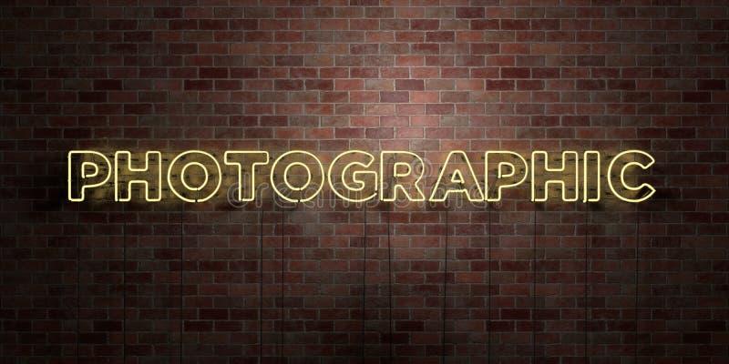 FOTOGRAFISCH - fluorescent T.L.-buisteken op metselwerk - vooraanzicht - 3D teruggegeven royalty vrij voorraadbeeld royalty-vrije illustratie