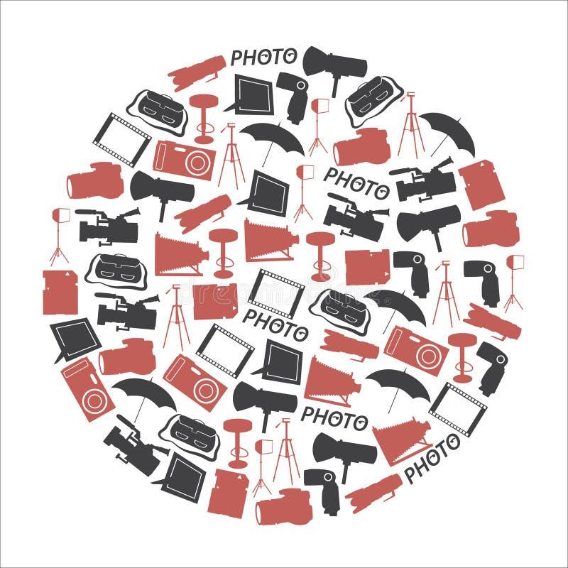 Fotografische die en camerapictogrammen in cirkel worden geplaatst vector illustratie