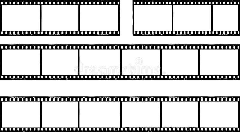 Fotografische film, filmstrepen, fotokaders, vrije exemplaarruimte, ve stock illustratie