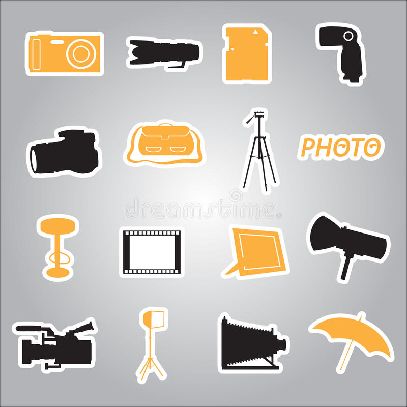 Fotografische stickers eps10 stock illustratie