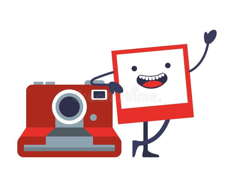 Fotografisk ögonblicklig kawaii för kamera vektor illustrationer